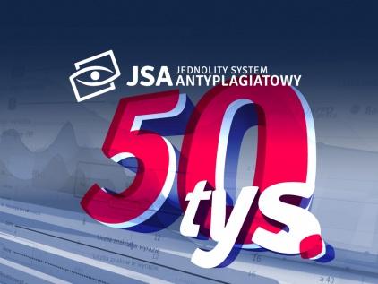 Grafika przedstawia logtyp JSA i liczbę 50 tysięcy - opisującą liczbę badań przeprowadzonych w systemie w ciągu pierwszych 3 miesięcy działania systemu.